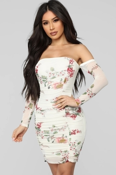 Picture of Floral Ruched Mesh Short Dress