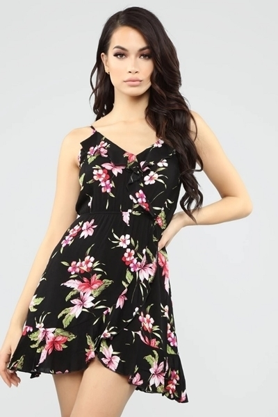 Picture of Floral Print Ruffle Detail Dress