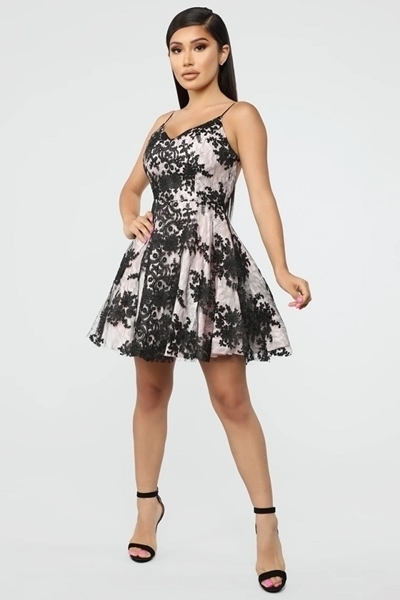 Picture of Embroidery Floral Flare Cocktail Dress