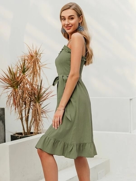 Picture of Ruffle Trim Shirred Self Belted Dress