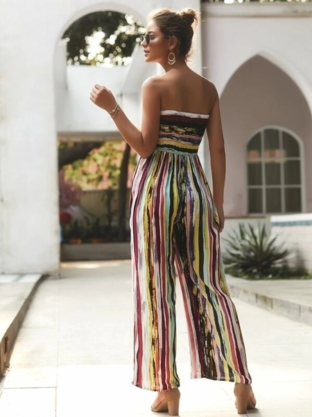 Picture of Strapless Striped Tie Front Shirred Jumpsuit