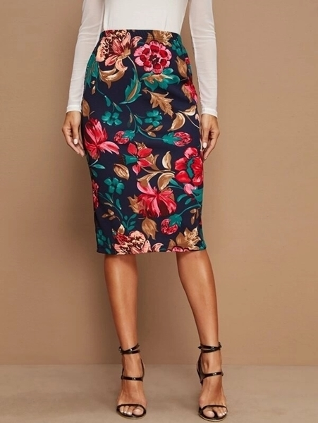 Picture of Floral Print Midi Pencil Skirt