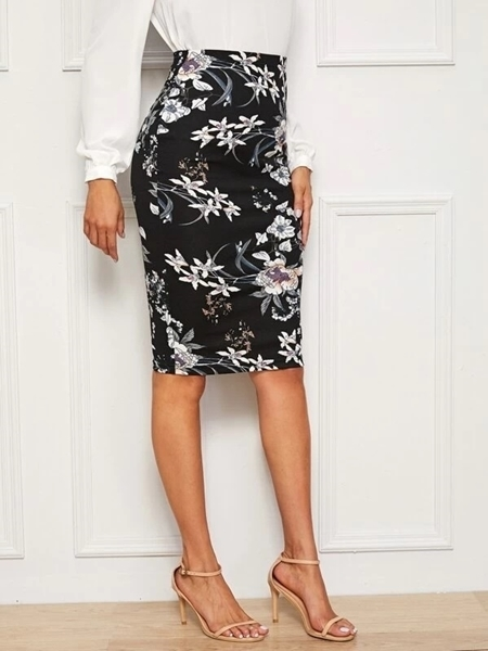 Picture of Botanical Print Pencil Skirt