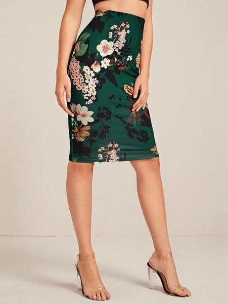 Picture of Floral Print Pencil Skirt - Green