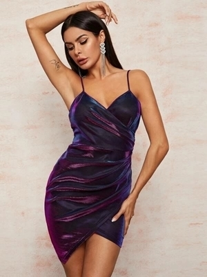 Picture of Holographic Wrap Asymmetrical Hem Cami Dress