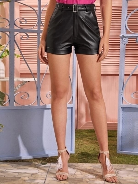 Picture of Adjustable Belt Cuffed PU Leather Shorts