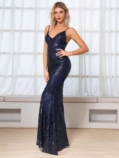 Picture of Sequin Spaghetti Strap Appliques Evening Gown