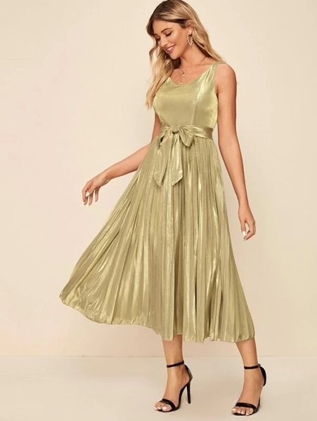Picture of Glitter Pleated Formal Occasion Dress
