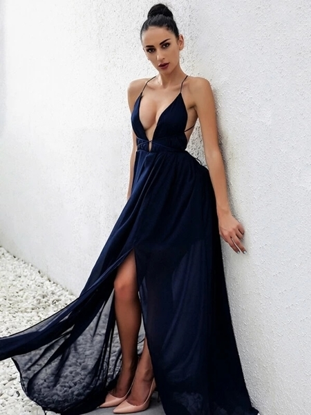 Picture of Open Back Plunge Split Formal Maxi Dress