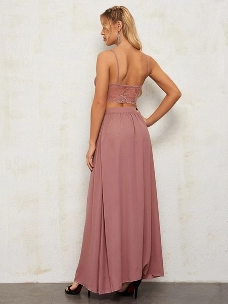 Picture of Lace Sheer Cami  & Wrap Skirt Maxi Formal Dress Set