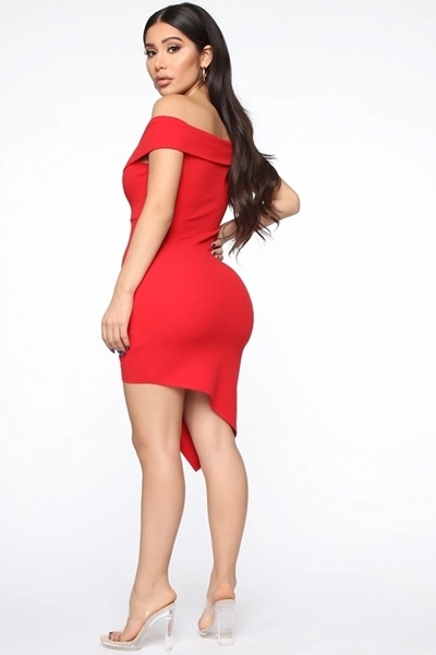 Picture of Off Shoulder Asymmetrical Cocktail Dress
