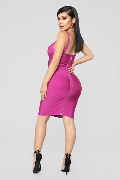 Picture of Surplice Ribbed Neck Bodycon Dress