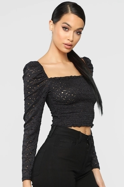 Picture of Lace Smock Long Sleeve Crop Top