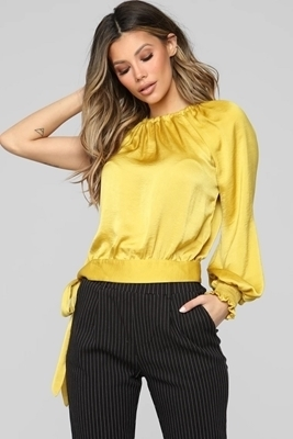 Picture of One Shoulder Tie Detail Top - Mustard