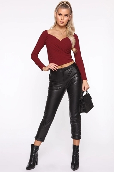 Picture of Surplice Ribbed Long Sleeve Crop Top