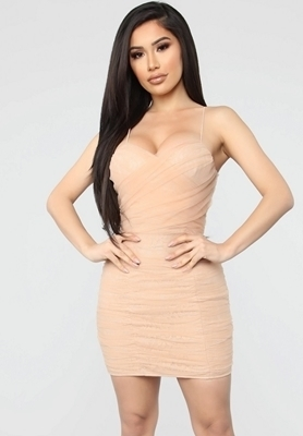 Picture of Runched Nude Mini Cocktail Dress