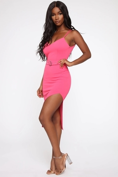 Picture of Hot Pink Multi Strap Belted Dress