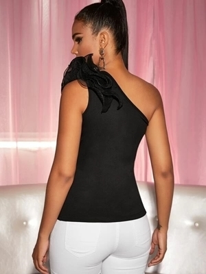 Picture of Mesh Ruffle One Shoulder Slim Top