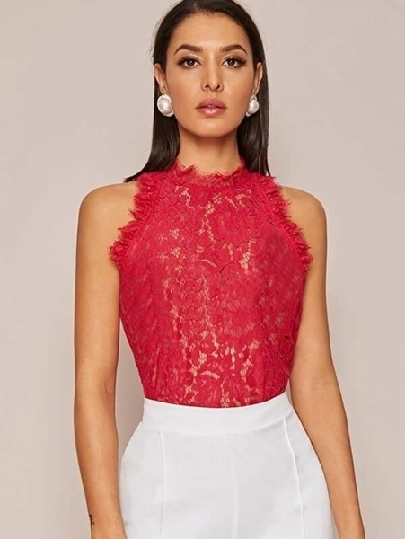 Picture of Sheer Lace Sleeveless Top