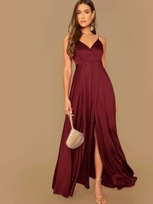 Picture of Surplice Wrap Solid Satin Formal Dress