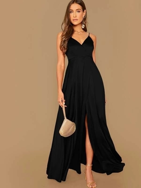 Picture of Split Hem Flowy Slip Formal Dress