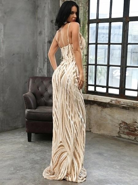 Picture of Plunge Sequin Floor Length Cami Evening Dress