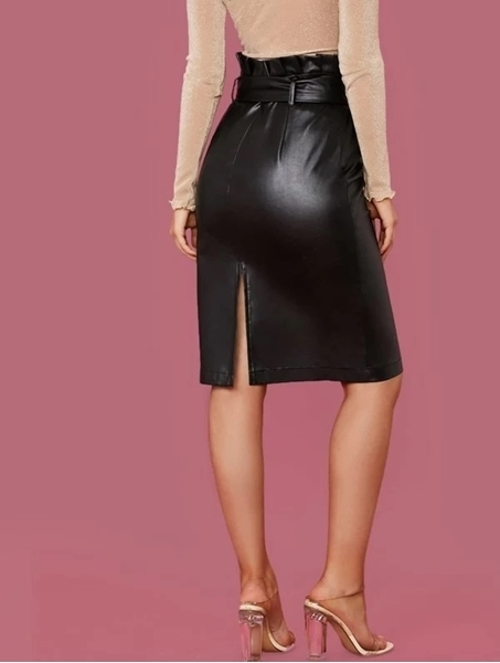 Picture of Paperbag Waist Split Back PU Leather Skirt
