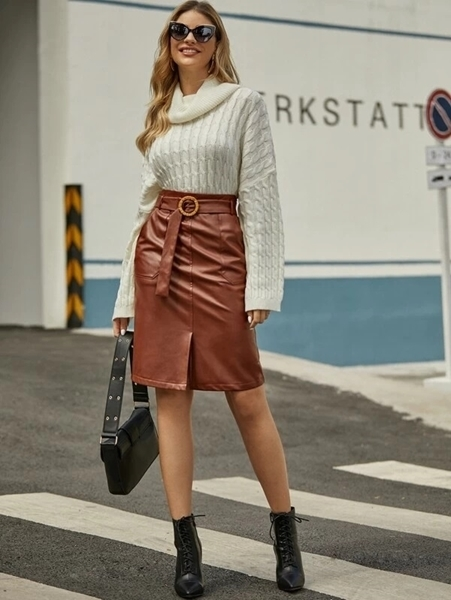 Picture of Slit Hem Belted PU Leather Bodycon Skirt