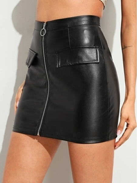 Picture of O-ring Zip Front PU Skirt