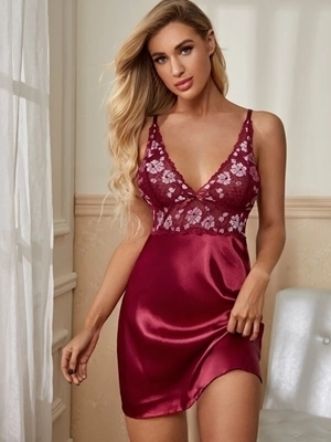 Picture of Contrast Lace Satin Babydoll