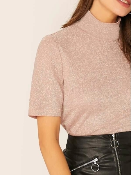 Picture of Glitter High Neck Short Sleeve Top