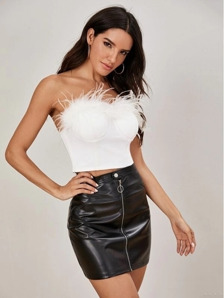 Picture of Faux Feather Bustier Tube Top