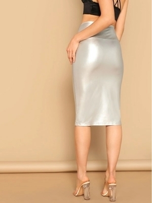 Picture of Wide Waist Metallic Bodycon Skirt