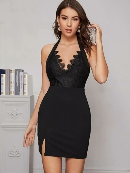 Picture of Lace Panel Split Hem Bodycon Dress