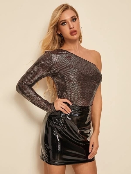 Picture of One Shoulder Fitted Sequin