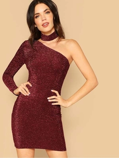 Picture of One Shoulder Glitter Cocktail Dress