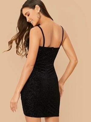 Picture of Faux Fur Detail Velvet Cami Bodycon Dress