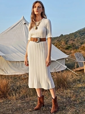 Picture of Ribbed Knit Sweater Dress Without Belt