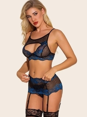 Picture of High Neck Floral Lace Cutout Front Garter Lingerie Set