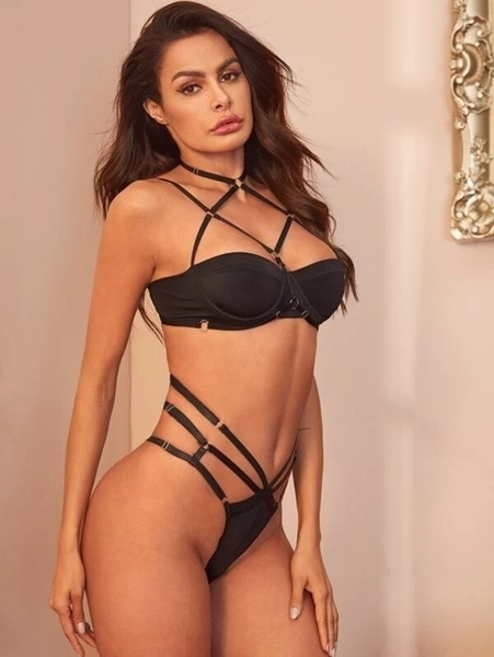 Picture of Harness Criss Cross Lingerie Set With Choker