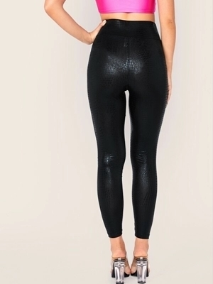 Picture of Wide Waist Crocodile Embossed Leggings