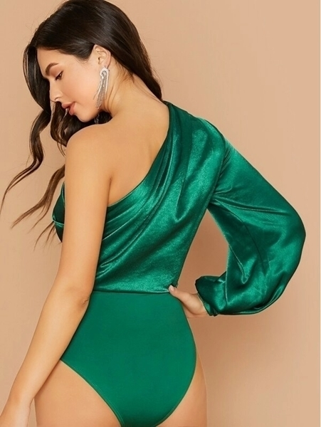 Picture of One Shoulder Lantern Sleeve Satin Bodysuit