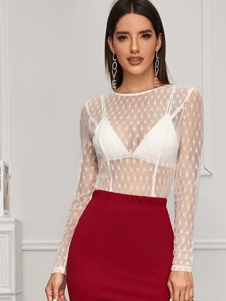 Picture of Sheer Lace Blouse Women