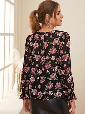 Picture of Floral Print V-Neck Flounce Sleeve Blouse