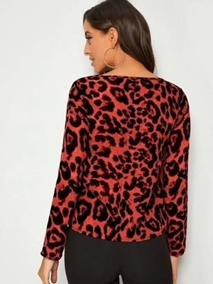 Picture of Leopard Print V-neck Top