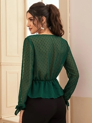 Picture of Dot Surplice Front Knotted Cuff Peplum Blouse