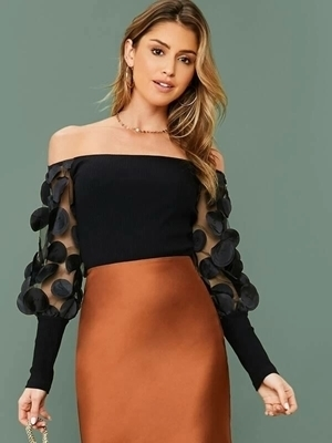 Picture of Appliques Sheer Lantern Sleeve Rib-knit Off Shoulder Top