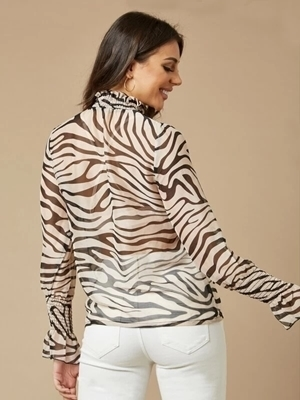 Picture of Shirred Panel Zebra Striped Sheer Top