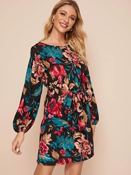 Picture of Floral Boat Neck Belted Tunic Dress