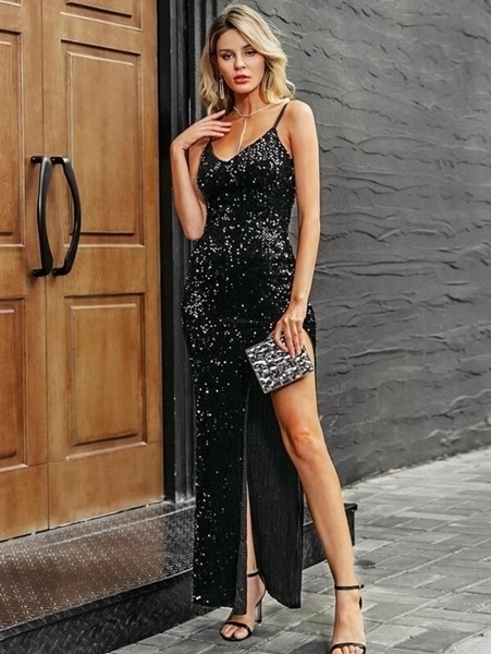 Picture of Sequin Split Thigh Bodycon Occasion Long Dress